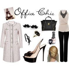 The perfect office outfit with a hint of a Parisian theme.  From the low ballet bun to the mustache stud earrings, this outfit is fresh and professional.