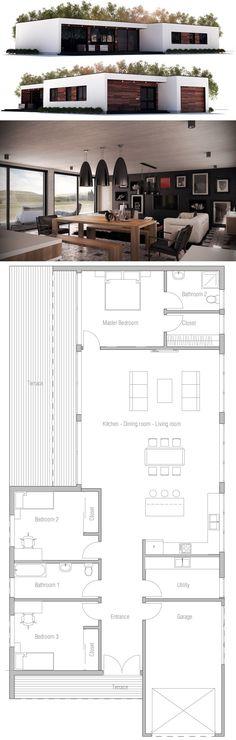 House Plan, Home Plans, Floor Plans Modern House Floor Plans, Simple House Plans, Contemporary House Plans, New House Plans, Dream House Plans, Small Cottage House Plans, Small Cottage Homes, Cottage Floor Plans, Minimalist House Design