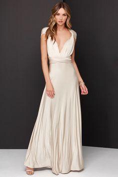 Pretty Maxi Dress - Convertible Dress - Beige Dress - Infinity Dress - $47.00