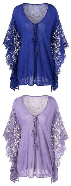 Plus Size Butterfly Sleeve Crochet Trim Blouse