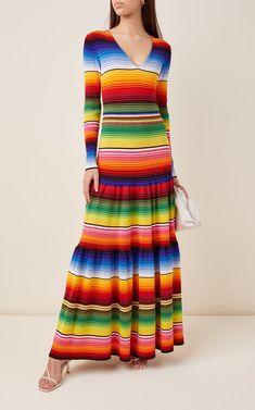Striped Cotton-Blend Maxi Dress By Carolina Herrera | Moda Operandi Geometric Fashion, Colorful Fashion, Striped Knit, Striped Dress, Moschino, Sharara Designs, Retro Dress, Carolina Herrera, Daily Fashion