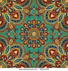Seamless vector colorful pattern. East ornament with gold contour and colorful details on the turquoise background. Tracery of mandalas for textile. - stock vector