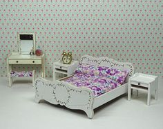 Doll house vintage bedroom Lundby 1960s 1970s furniture white