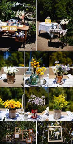 Different colors of flowers in each of the vases on the round tables, with more intermixed wildflowers on the long table in the midle? Each table with different centerpiece vases, jars, bottles, and stands (tree slices, books, beaded silver plates)