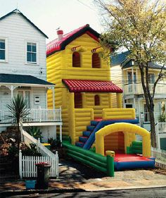 Inflatable house.