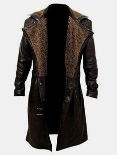 Blade Runner 2049 Ryan Gosling (Officer K) Fur Lapel Collar Trench Leather Coat Mens Leather Coats, Real Leather, Leather Jackets, Men's Leather, Brown Leather, Long Winter Coats, Revival Clothing, Men's Clothing, Herren Outfit