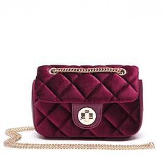 New Trending Cross Body Bags: Miss Fong Womens Quilted Purse Quilted Bag Crossbody Bags For Girls Quilting Chain Handbag (Red). Miss Fong Women's Quilted Purse Quilted Bag Crossbody Bags For Girls Quilting Chain Handbag (Red)  Special Offer: $23.99  399 Reviews It's a classic quiltted bag style but in a not classic material on bag, Velvet, which is a very important fashion factor in Autumn/Winter...