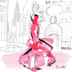 kerriehessillustration Excited to work with fashions most iconic woman for @barbiestyle, for the #BarbiePortrait series... First one here is water colour red couture, inspired by Barbie in New York... #barbie #barbiestyle