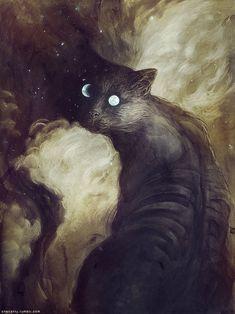 The Cat and the moon Art Print by Jana Heidersdorf Illustration - X-Small Art And Illustration, Bizarre Art, Art Watercolor, Moon Art, Cat Art, Art Inspo, Amazing Art, Drawing People, Fantasy Art