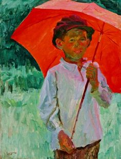 Аркадий Александрович Пластов (1893-1972) Коля с красным зонтом. 1939 г Kolia with red umbrella/ Artist Arkady Plastov