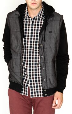 RVCA Mens : Jackets / Sweaters - Puffer Chambray Fleece