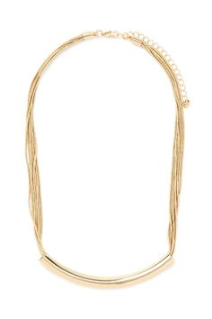 This high-polish necklace features delicate snake chains, a curved bar pendant, and a lobster clasp closure.