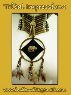 Long Bone Collar Bear Totem Choker -Hand Carved Bone Bears And Bear Paws With Feathers And Beads- From The Tribal Impressions Bone Choker Collection! Review the collection off of:  http://www.indianvillagemall.com/bonechockers.html