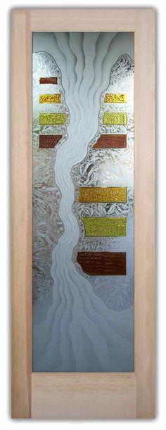 Triptic 3D Carved & Painted Glass Door by Sans Soucie Art Glass