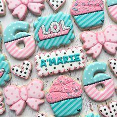 Ideas Cookies Decorated For Kids Birthday Parties For 2019 Birthday Dinners, 6th Birthday Parties, 8th Birthday, Lol Birthday Cake, Rodjendanske Torte, Doll Party, Lol Dolls, Birthday Cookies, Cookie Decorating