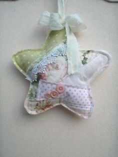 Lavender Sachet Christmas Star Door Hanger Shabby Chic Pink Rose