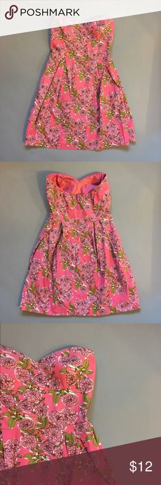 floral strapless dress worn once, excellent condition! Forever 21 Dresses Strapless