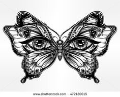 Beautiful butterfly wings with human eyes in retro flash tattoo style. Fantasy, spirituality, occultism, tattoo art, coloring books. Isolated vector illustration. Trendy print. butterfly wings