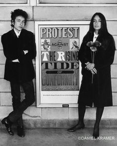 "Bob Dylan and Joan Baez with protest sign, NJ, Daniel Kramer, 1964.  ""Protest Against the Rising Tide of Conformity.""--had that in my kitchen."