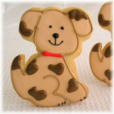 Brown puppy, Black and white puppy, puppy cookies