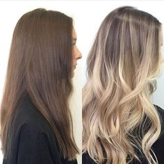 Hair before & after - Light brown to blonde