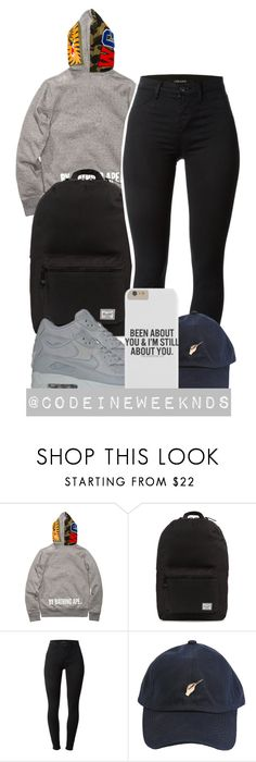 """""""12/27/15"""" by codeineweeknds ❤ liked on Polyvore featuring A BATHING APE, Herschel Supply Co., J Brand and See You Never"""