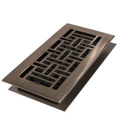 "Oriental Design: 4X10"" Solid Brass Floor Register - Brushed in Nickel (Available in Aluminum)"