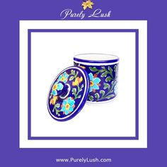 Visit www.purelylush.com. #bluepottery #homedecor #floral #box #storage #handmade #handcrafted #handpainted #painting #painted #blue #ceramics #madeinindia #indian #india #shopping #shoponline #onlineindia