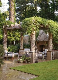 By installing a pergola, you can get both stylish and useful decoration for your backyard. To give a closer look at how to build a beautiful pergola for your outdoor space, we've prepared tons of backyard pergola ideas below! Backyard Fireplace, Backyard Pergola, Backyard Landscaping, Fireplace Ideas, Pergola Kits, Pergola Ideas, Cheap Pergola, Landscaping Ideas, Corner Pergola