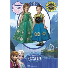 It's springtime in Arendelle, and your favorite characters are preparing for Anna's birthday celebration. Get in the festive spirit with these Disney Frozen Fever Anna and Elsa costume (or everyday) dresses. Simplicity sewing pattern.