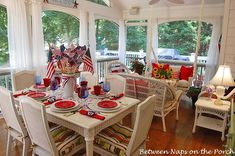 Decorating Your Screened in Porch | Screened-in Porch Decorated for the 4th of July