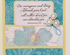 Scriptural SYMPATHY Card- Bible Quote- Greeting Card- NWT- Deuteronomy 31:6- Floral- Turquoise and Yellow - Condolences