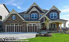 Plan W73342HS: Photo Gallery, Premium Collection, Sloping Lot, Craftsman, Traditional, Luxury, Northwest House Plans & Home Designs