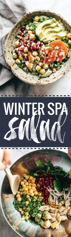 Winter Spa Salad with Lemon Chicken - a healthy and YUMMY recipe to keep your glow alive during the winter! | pinchofyum.com