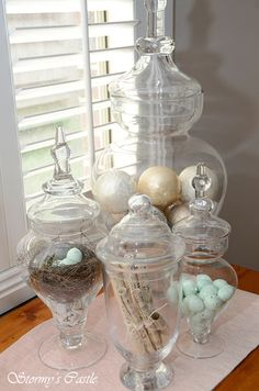 You can change out the contents seasonally with apothecary jars in different sizes.
