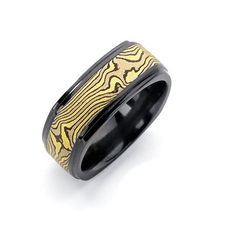 8.5 mm black zirconium Euro-square with 5 mm of 18k yellow, 14k white, and silver Mokume.