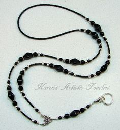 Black Elegant Glass Beaded Lanyard | Nice and simple but still very pretty.