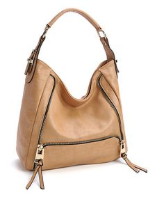 Look at this #zulilyfind! Beige Zip-Accent Hobo #zulilyfinds