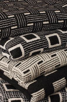 A stack of woven textiles from Keskusta, a collab by Swiss textile designer Silja Eggenschwiler and Dutch textile designer Sytze Roos. Weaving Textiles, Textile Fabrics, Textile Patterns, Home Textile, Textile Art, Print Patterns, Pattern Texture, Textile Texture, Soft Furnishings