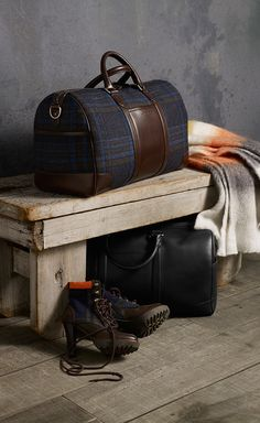 Make a stylish homecoming with Tommy Hilfiger bags and boots featuring an exclusive tartan from British wool mill, Abraham Moon.