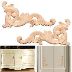 1pc Exquisite bois sculpté Decal applique décoration porte meuble mobilier