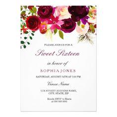 #Burgundy Floral Boho Sweet Sixteen Invitation - #sweet16 #invitations #sixteen #birthday #sweetsixteen #party #bday #birthdayparty