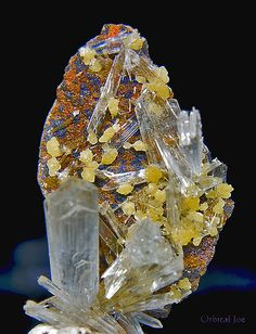 Clear Hemimorphite & Yellow Mimetite Crystal Cluster - From the Ojuela Mine, Mapimi, Durango, Mexico (plus orange wulfenite & blue linarite? Minerals And Gemstones, Crystals Minerals, Rocks And Minerals, Crystals And Gemstones, Stones And Crystals, Cool Rocks, Beautiful Rocks, Meditation Crystals, Chakra Crystals