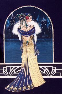 Clintons Art Nouveau cards, birthday Deco cards, beautiful lady, Art Deco, geometric shapes, sparkling lady, pink dress, fancy head dress, silver foil text