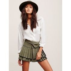 FP One Origami Mini (125 CAD) ❤ liked on Polyvore featuring skirts, mini skirts, button skirt, free people, cotton pleated skirt, short mini skirts and cotton mini skirt