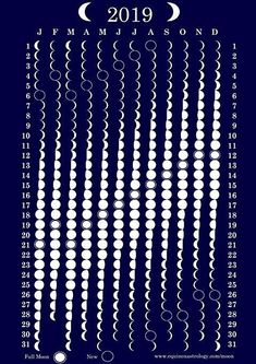 Mondphasenkalender 2019 - Witchcraft and Wicca - Science Wiccan, Magick, Wicca Witchcraft, Kalender Design, Moon Phase Calendar, Moon Magic, Space And Astronomy, Bullet Journal Inspiration, Book Of Shadows