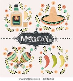 Vector cartoon mexican set of illustration of chili papers, tequila slice of lemon, sombrero, maracas and caballito decorated with flower. Hand drawn lettering mexicana