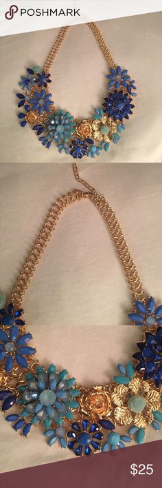 Statement necklace new no tags or brand Statement necklace blue new no tags or brand very detailed piece is heavy i got it on a chinese store but never used  it's a little heavy the stones are very detail no brand Jewelry Necklaces