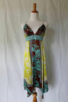 SINGLE brand Dress 100% Silk hand beaded dress Hippie Festival S NWT #SingleDress #AsymmetricalHem #Casual
