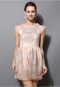 Organza Embroidery Peach Dress
